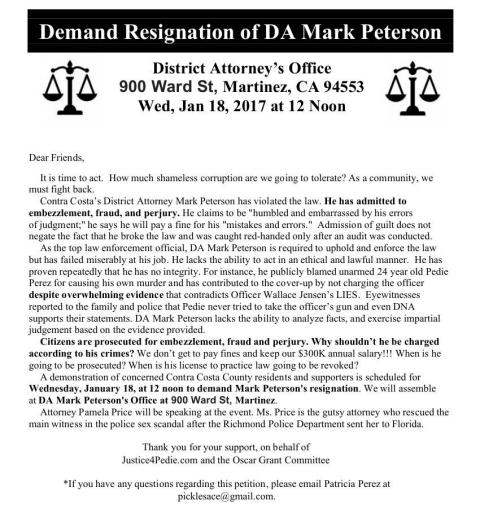 DEMAND PETERSON RESIGN!