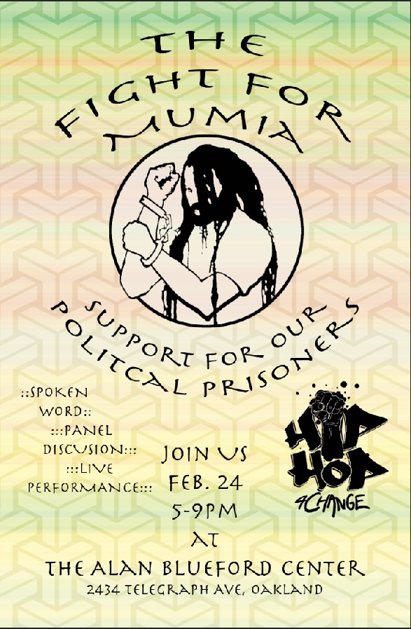 Flyer for 'The Fight for Mumia: Support for Our Political Prisoners'